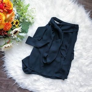 MONTEAU LA FLOWY HIGHWAISTED BLACK SHORTS